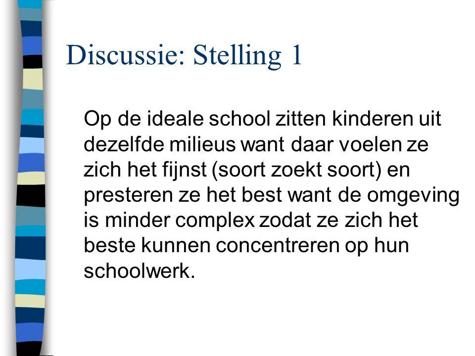 Discussie: Stelling 1 Op de ideale school zitten kinderen uit dezelfde milieus want daar voelen ze zich het fijnst (soort zoekt soort) en presteren ze