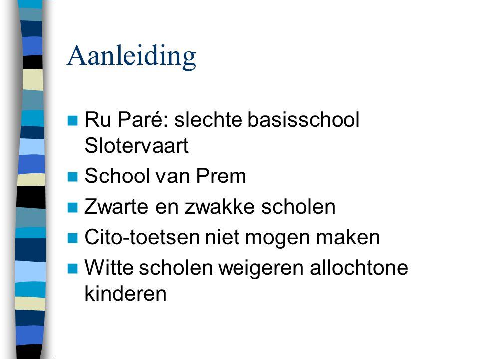 De feiten in Amsterdam 203 scholen in Amsterdam –29 te zwart –17 te wit In Oud-West, Bos en Lommer, De Baarsjes, Oost-Watergraafsmeer, Oud- Zuid, Noord en Slotervaart Onderwijssegregatie op basis van ethniciteit bestaat in Amsterdam