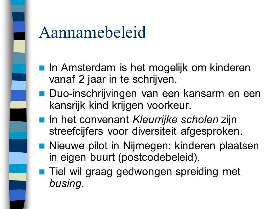 Aannamebeleid In Amsterdam is het mogelijk om kinderen vanaf 2 jaar in te schrijven. Duo-inschrijvingen van een kansarm en een kansrijk kind krijgen v