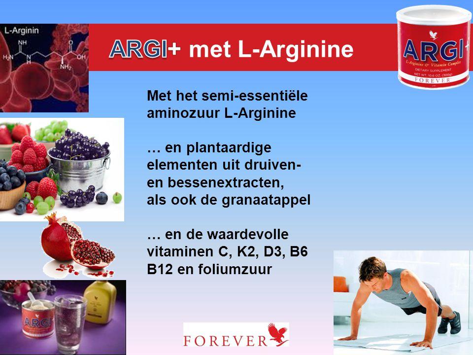 Met het semi-essentiële aminozuur L-Arginine … en plantaardige elementen uit druiven- en bessenextracten, als ook de granaatappel … en de waardevolle