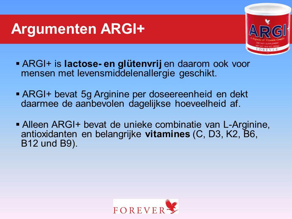  ARGI+ is lactose- en glütenvrij en daarom ook voor mensen met levensmiddelenallergie geschikt.  ARGI+ bevat 5g Arginine per doseereenheid en dekt d