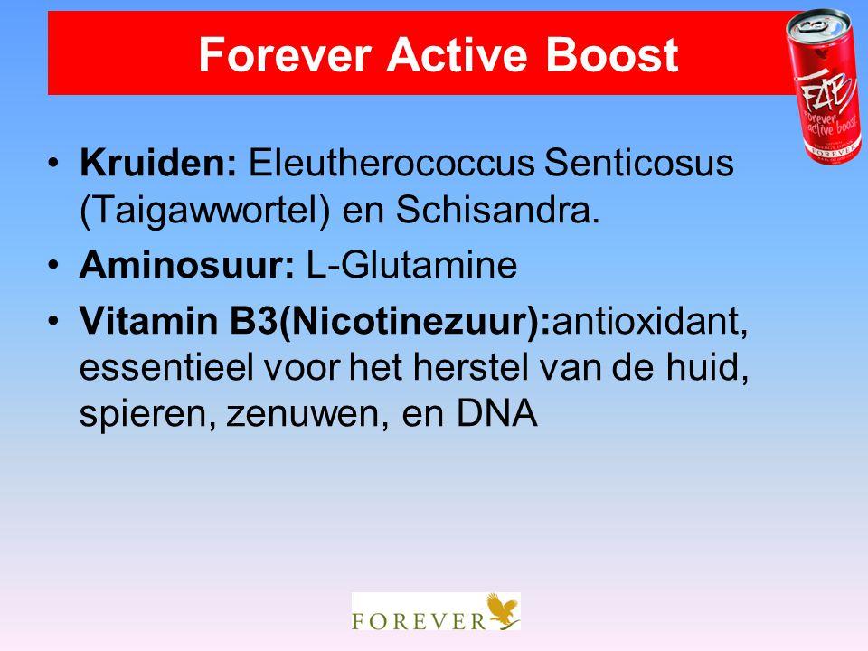 Kruiden: Eleutherococcus Senticosus (Taigawwortel) en Schisandra. Aminosuur: L-Glutamine Vitamin B3(Nicotinezuur):antioxidant, essentieel voor het her