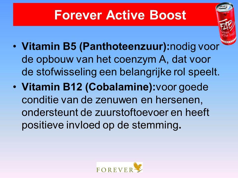 Vitamin B5 (Panthoteenzuur):nodig voor de opbouw van het coenzym A, dat voor de stofwisseling een belangrijke rol speelt. Vitamin B12 (Cobalamine):voo