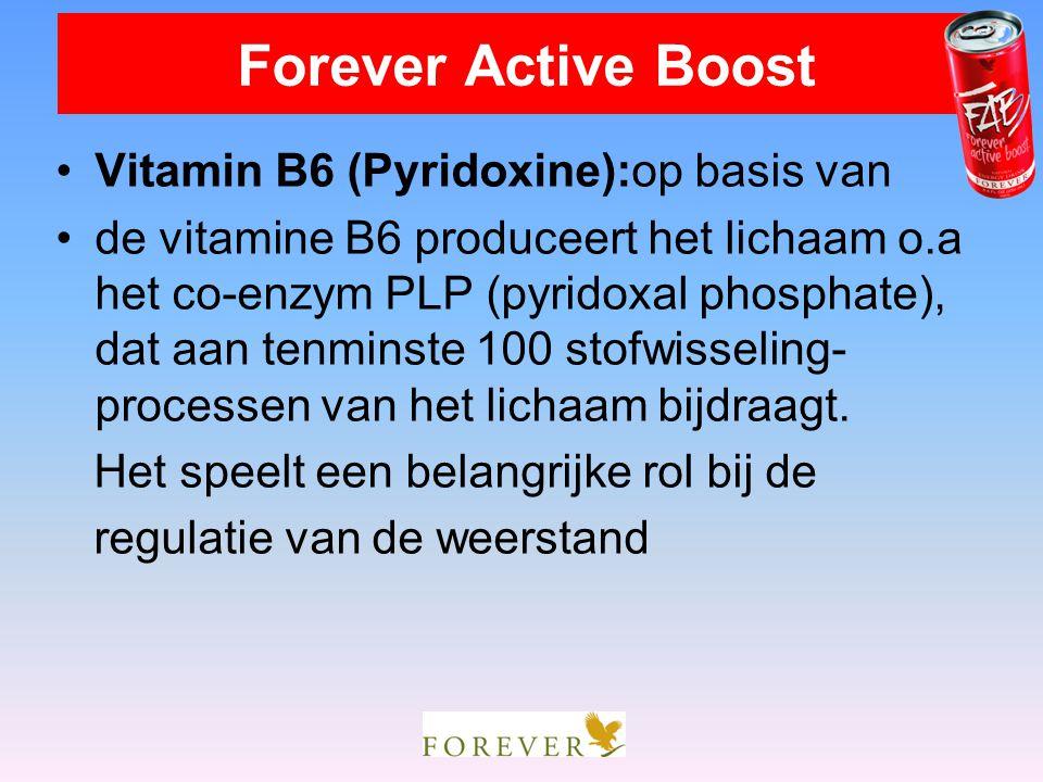 Vitamin B6 (Pyridoxine):op basis van de vitamine B6 produceert het lichaam o.a het co-enzym PLP (pyridoxal phosphate), dat aan tenminste 100 stofwisse