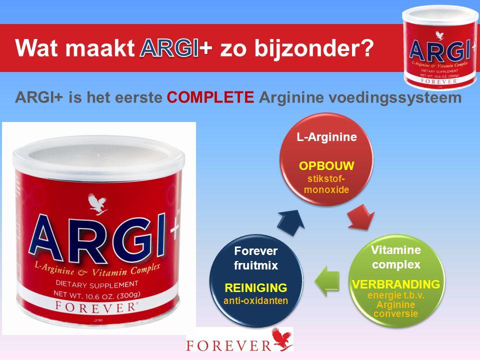 L-Arginine OPBOUW stikstof- monoxide Forever fruitmix REINIGING anti-oxidanten Vitamine complex VERBRANDING energie t.b.v. Arginine conversie