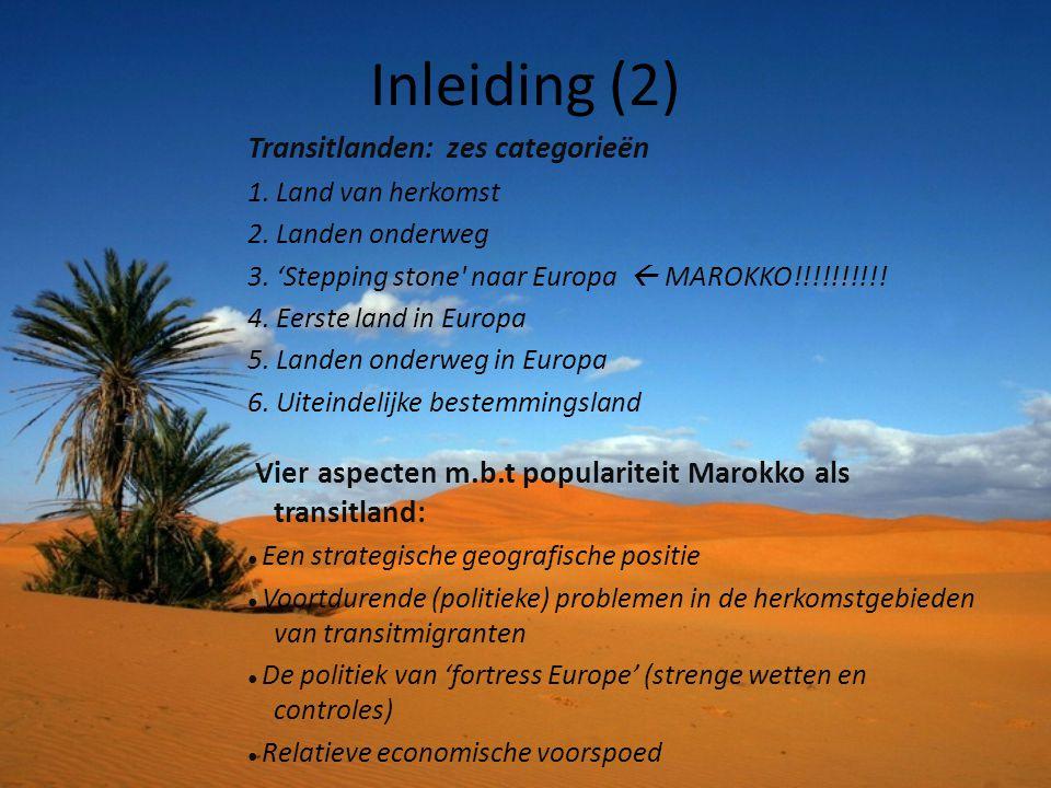Inleiding (2) Transitlanden: zes categorieën 1. Land van herkomst 2. Landen onderweg 3. 'Stepping stone' naar Europa  MAROKKO!!!!!!!!!! 4. Eerste lan
