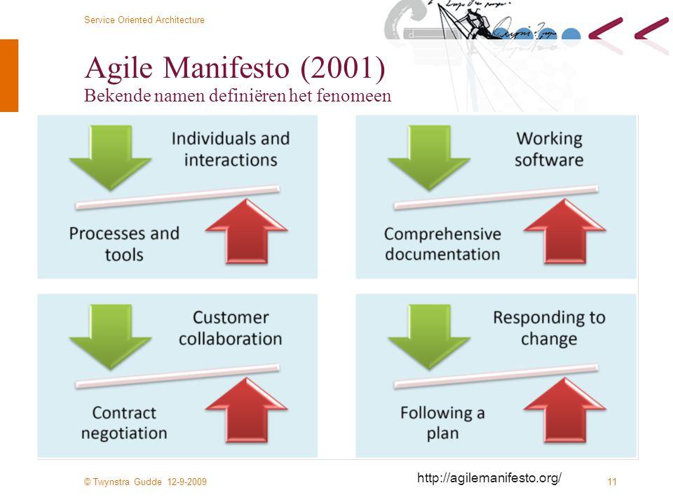 © Twynstra Gudde 12-9-2009 Service Oriented Architecture 11 Agile Manifesto (2001) Bekende namen definiëren het fenomeen http://agilemanifesto.org/