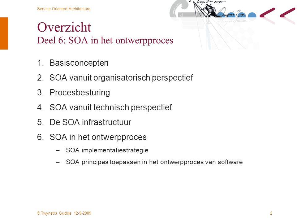 © Twynstra Gudde 12-9-2009 Service Oriented Architecture 2 Overzicht Deel 6: SOA in het ontwerpproces 1.Basisconcepten 2.SOA vanuit organisatorisch perspectief 3.Procesbesturing 4.SOA vanuit technisch perspectief 5.De SOA infrastructuur 6.SOA in het ontwerpproces –SOA implementatiestrategie –SOA principes toepassen in het ontwerpproces van software
