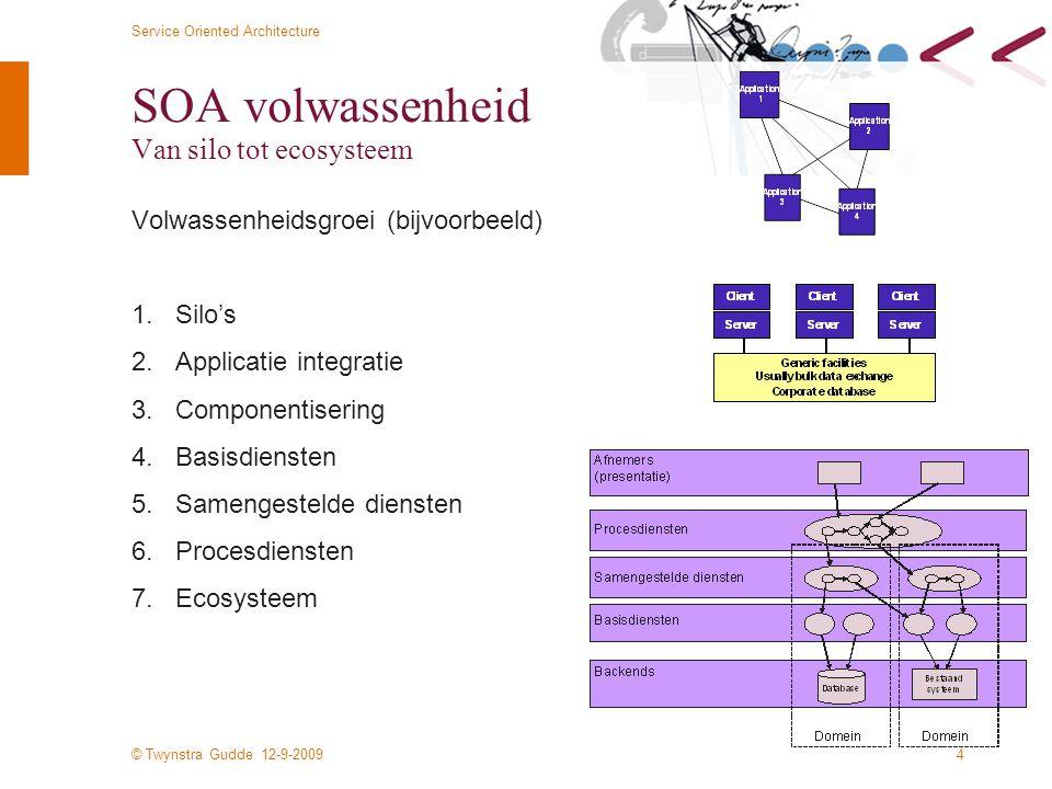 © Twynstra Gudde 12-9-2009 Service Oriented Architecture 4 SOA volwassenheid Van silo tot ecosysteem Volwassenheidsgroei (bijvoorbeeld) 1.Silo's 2.Applicatie integratie 3.Componentisering 4.Basisdiensten 5.Samengestelde diensten 6.Procesdiensten 7.Ecosysteem