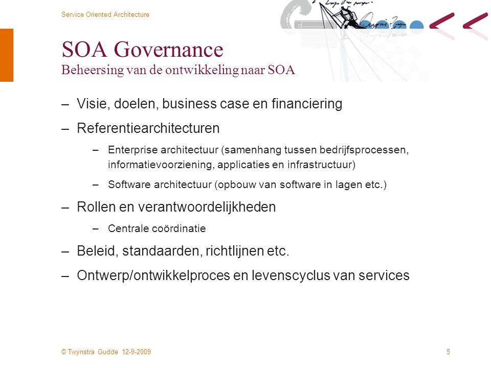 © Twynstra Gudde 12-9-2009 Service Oriented Architecture 6 Rol van de SOA infrastructuur Basis neerleggen en voortbouwen SOA infrastructuur Pilot 1 Pilot 2 Pilot 3