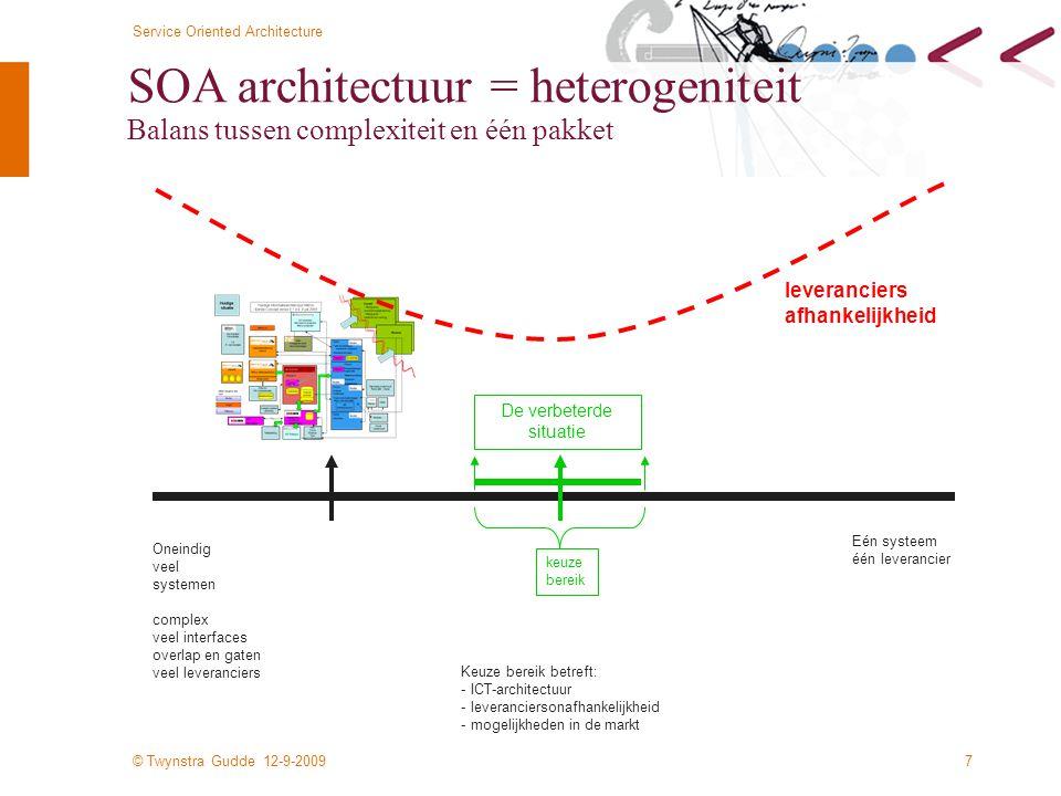 © Twynstra Gudde 12-9-2009 Service Oriented Architecture 7 SOA architectuur = heterogeniteit Balans tussen complexiteit en één pakket Eén systeem één leverancier Oneindig veel systemen complex veel interfaces overlap en gaten veel leveranciers De verbeterde situatie keuze bereik Keuze bereik betreft: - ICT-architectuur - leveranciersonafhankelijkheid - mogelijkheden in de markt leveranciers afhankelijkheid