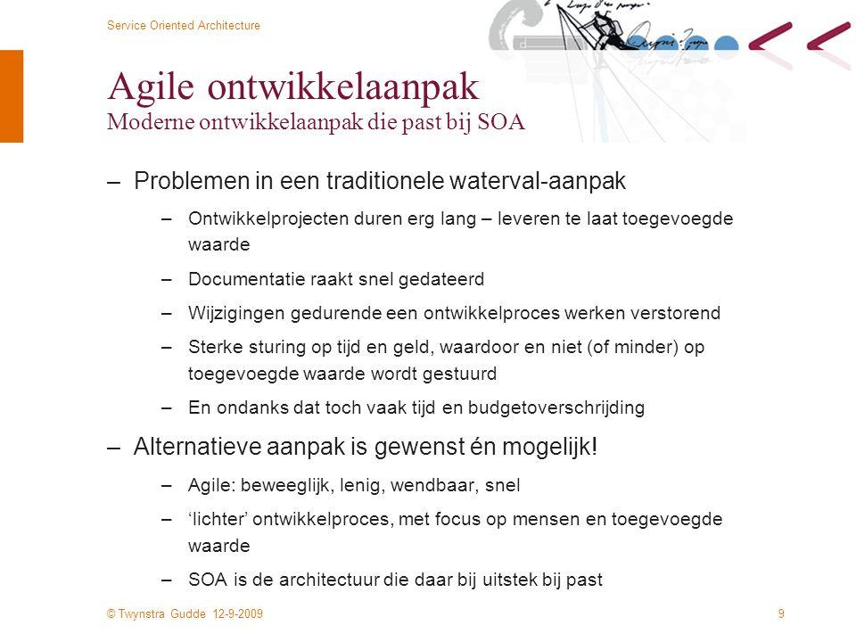 © Twynstra Gudde 12-9-2009 Service Oriented Architecture 20 Business architectuur Model van de bedrijfsprocessen