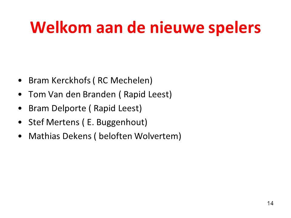 Verlaten de club : Kim Pierlot Len Van der Jeugd Bert Van Hoecke Wouter Van Den Bruel David De Proft Nicolas Selleslagh Elias Van den Broeck Michael V