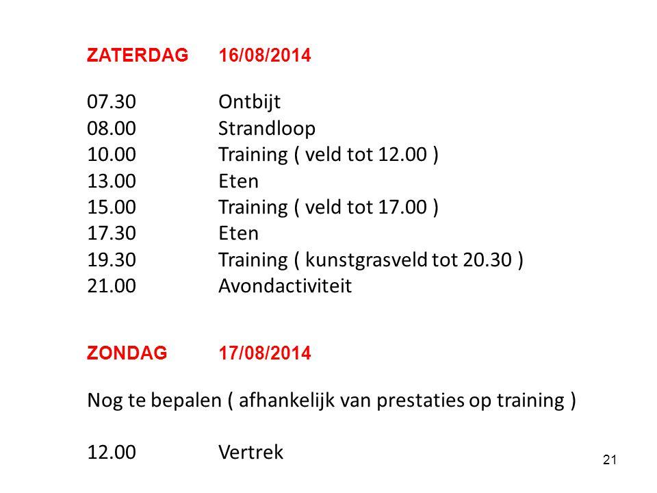 20 VOORLOPIG SCHEMA De trainingen vinden plaats op het complex van VRIJDAG 15/08/2014 12.30Samenkomst club 12.45Vertrek 14.15Aankomst 15.00Training (