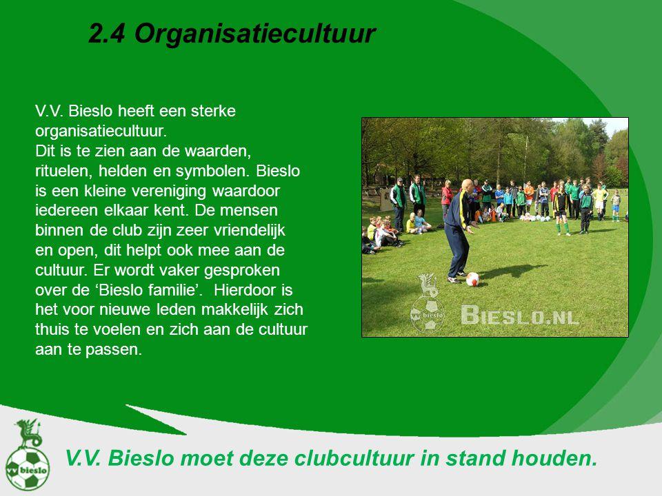 2.4 Organisatiecultuur V.V. Bieslo moet deze clubcultuur in stand houden. V.V. Bieslo heeft een sterke organisatiecultuur. Dit is te zien aan de waard