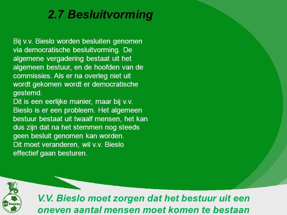 2.7 Besluitvorming V.V. Bieslo moet zorgen dat het bestuur uit een oneven aantal mensen moet komen te bestaan Bij v.v. Bieslo worden besluiten genomen