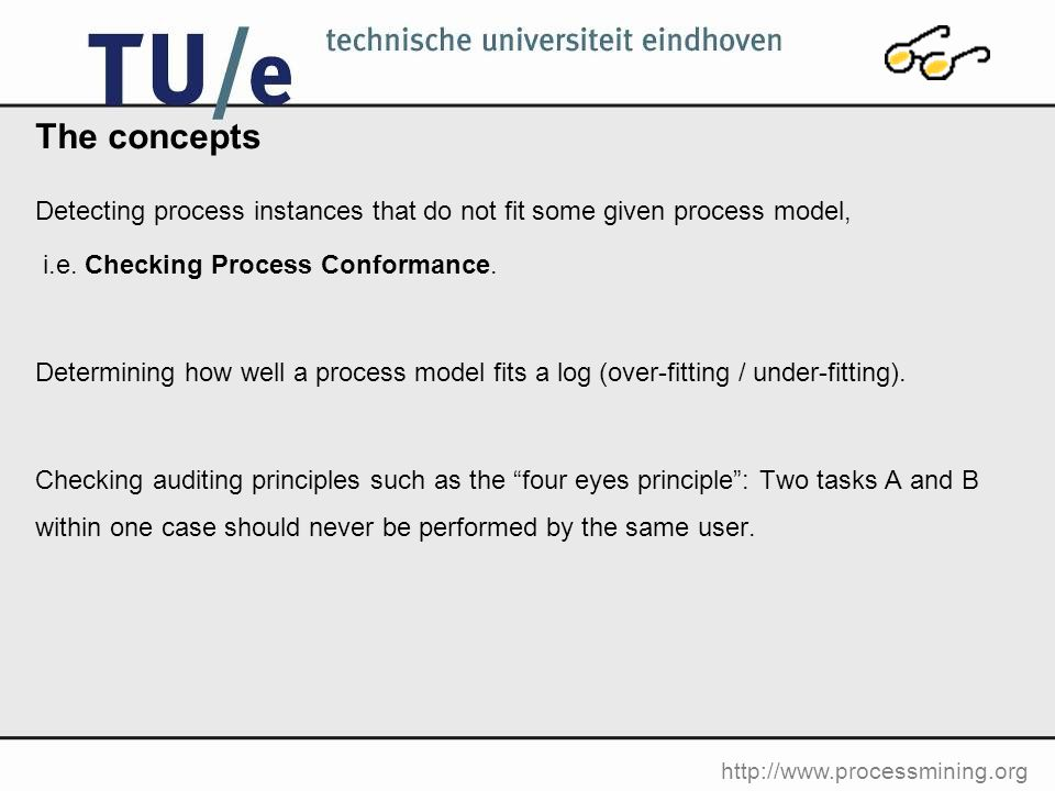 http://www.processmining.org The concepts Detecting process instances that do not fit some given process model, i.e.