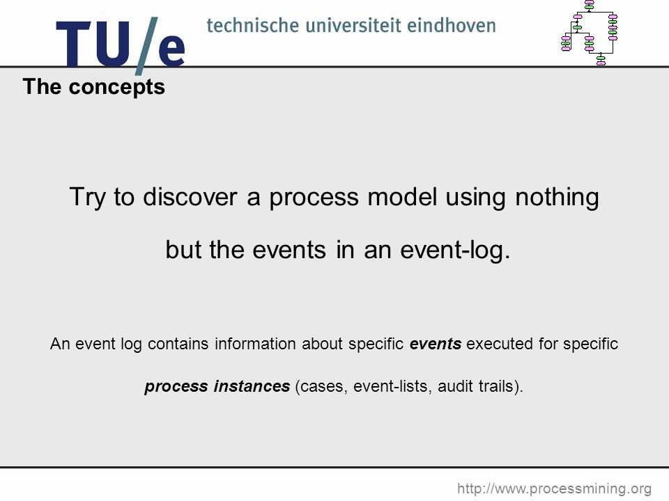 http://www.processmining.org The concepts Try to discover a process model using nothing but the events in an event-log.