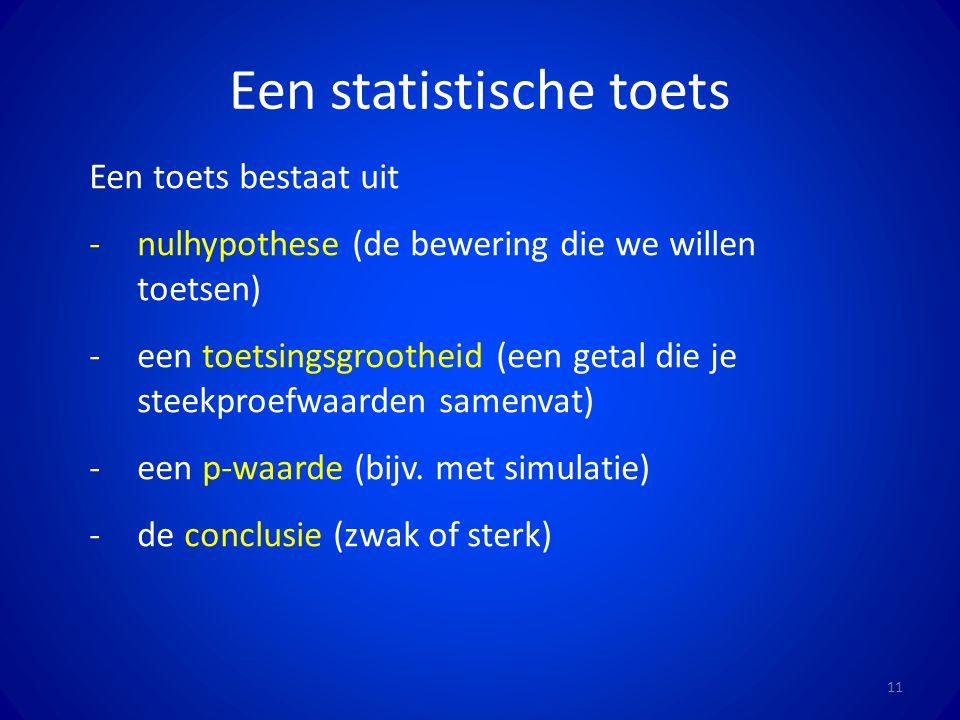 Een statistische toets 11 Een toets bestaat uit -nulhypothese (de bewering die we willen toetsen) -een toetsingsgrootheid (een getal die je steekproef
