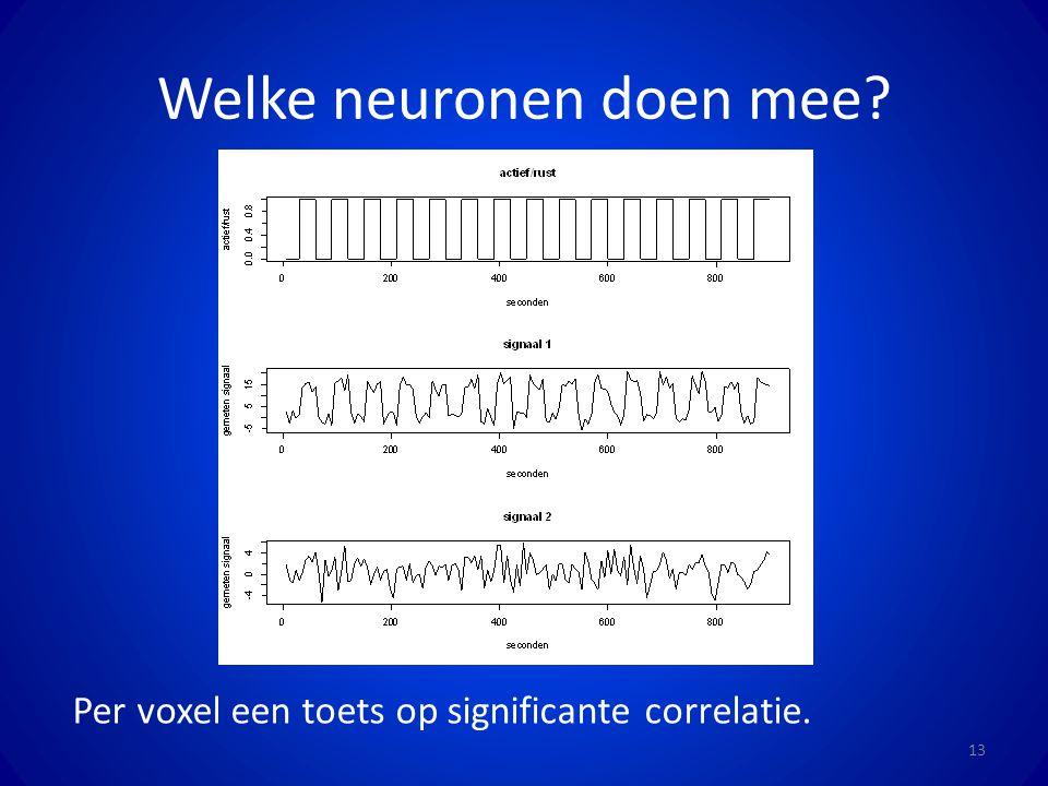 Welke neuronen doen mee? 13 Per voxel een toets op significante correlatie.