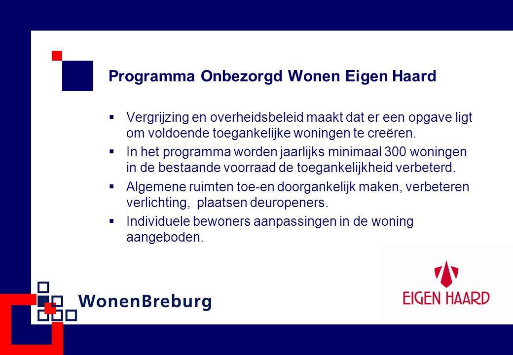 Programma Onbezorgd Wonen Eigen Haard  Vergrijzing en overheidsbeleid maakt dat er een opgave ligt om voldoende toegankelijke woningen te creëren. 