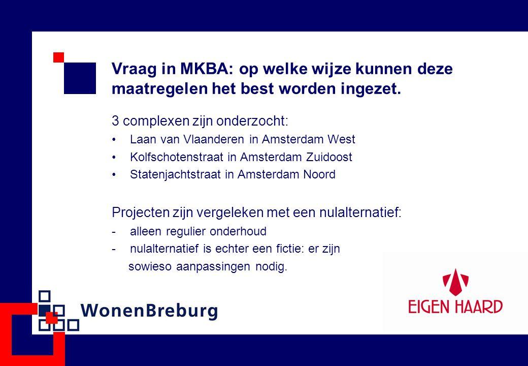 Vraag in MKBA: op welke wijze kunnen deze maatregelen het best worden ingezet. 3 complexen zijn onderzocht: Laan van Vlaanderen in Amsterdam West Kolf