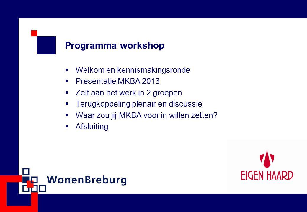 Programma workshop  Welkom en kennismakingsronde  Presentatie MKBA 2013  Zelf aan het werk in 2 groepen  Terugkoppeling plenair en discussie  Waar zou jij MKBA voor in willen zetten.
