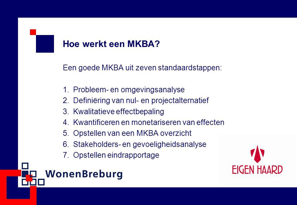 Hoe werkt een MKBA? Een goede MKBA uit zeven standaardstappen: 1.Probleem- en omgevingsanalyse 2.Definiëring van nul- en projectalternatief 3.Kwalitat