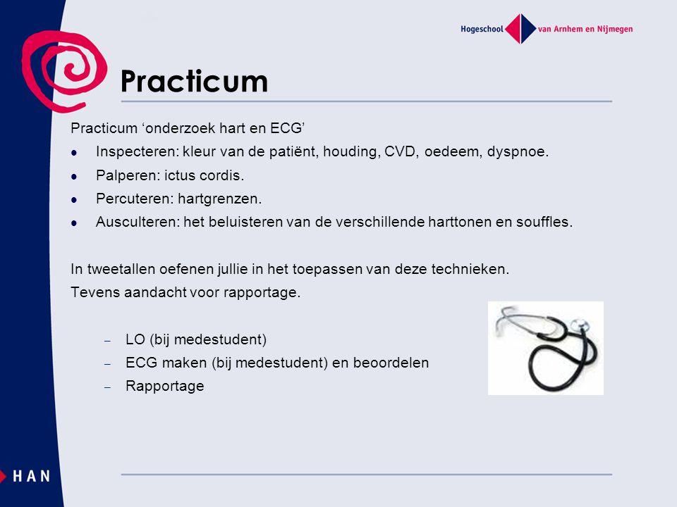 Practicum Practicum 'onderzoek hart en ECG' Inspecteren: kleur van de patiënt, houding, CVD, oedeem, dyspnoe. Palperen: ictus cordis. Percuteren: hart