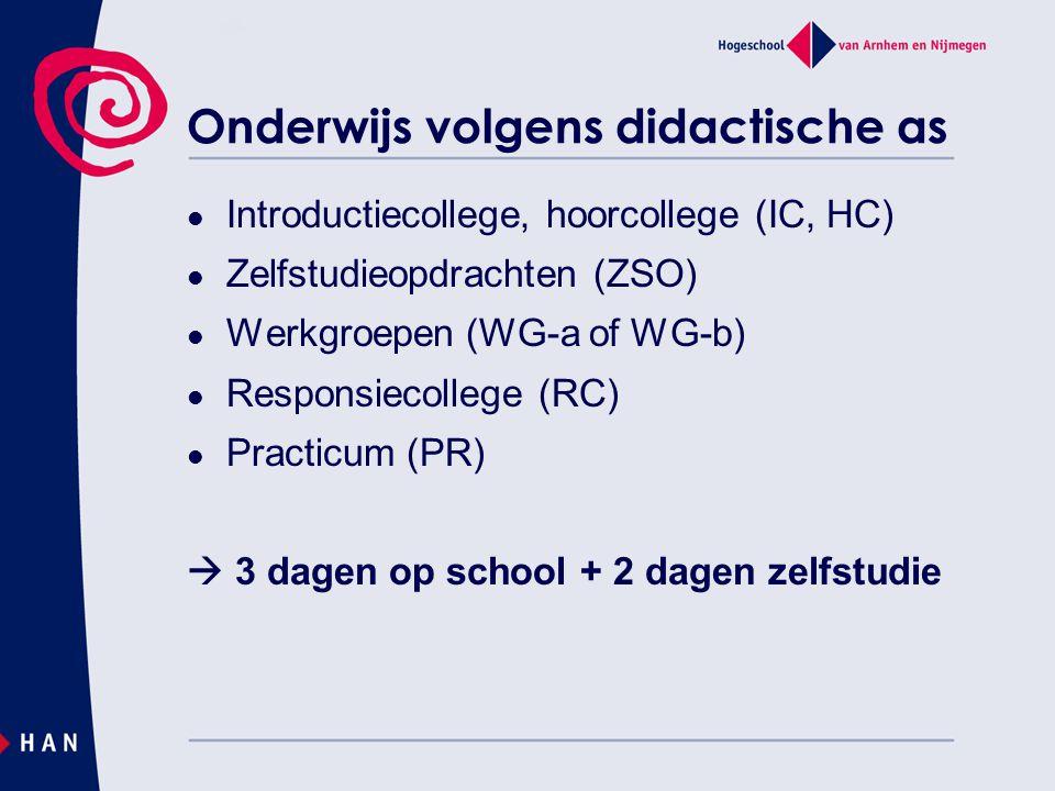 Onderwijs volgens didactische as Introductiecollege, hoorcollege (IC, HC) Zelfstudieopdrachten (ZSO) Werkgroepen (WG-a of WG-b) Responsiecollege (RC)