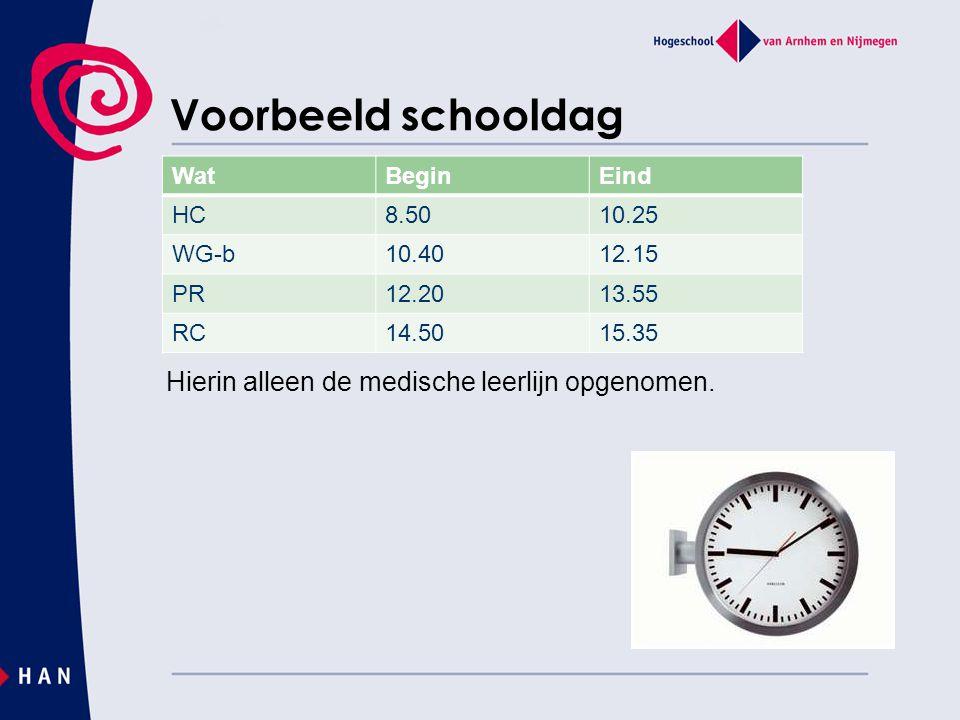 Voorbeeld schooldag Hierin alleen de medische leerlijn opgenomen. WatBeginEind HC8.5010.25 WG-b10.4012.15 PR12.2013.55 RC14.5015.35