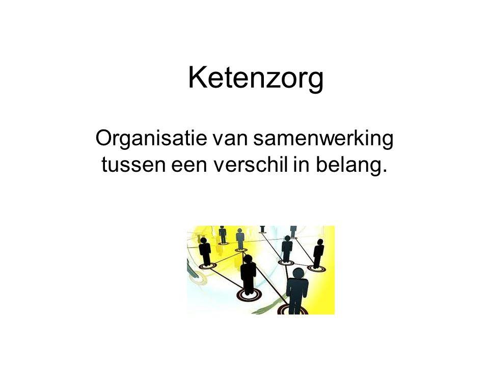 Ketenzorg Organisatie van samenwerking tussen een verschil in belang.