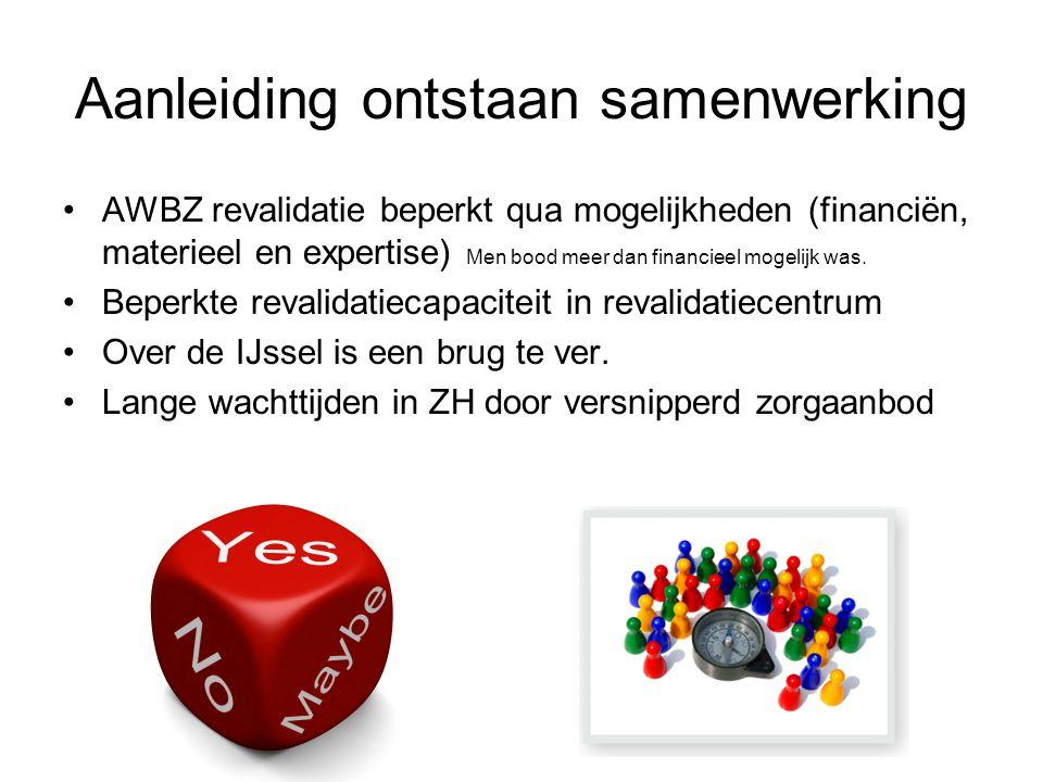 Aanleiding ontstaan samenwerking AWBZ revalidatie beperkt qua mogelijkheden (financiën, materieel en expertise) Men bood meer dan financieel mogelijk was.