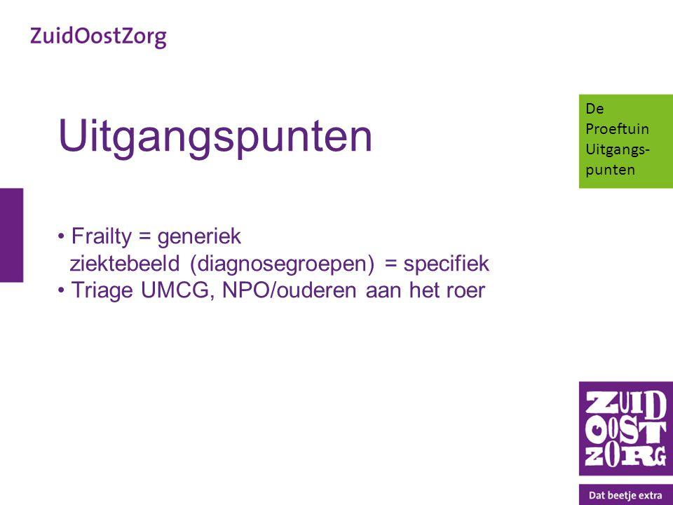 Uitgangspunten Frailty = generiek ziektebeeld (diagnosegroepen) = specifiek Triage UMCG, NPO/ouderen aan het roer De Proeftuin Uitgangs- punten
