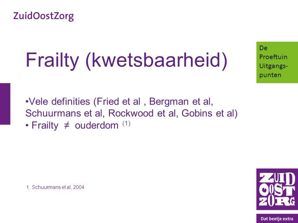 Frailty (kwetsbaarheid) Vele definities (Fried et al, Bergman et al, Schuurmans et al, Rockwood et al, Gobins et al) Frailty ≠ ouderdom (1) 1. Schuurm