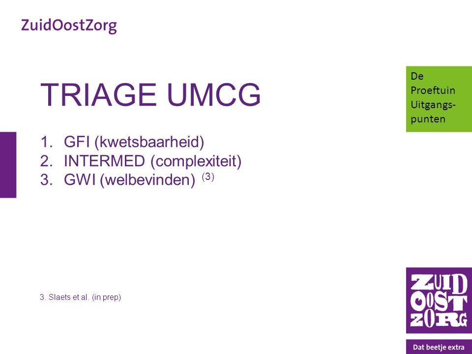 TRIAGE UMCG 1.GFI (kwetsbaarheid) 2.INTERMED (complexiteit) 3.GWI (welbevinden) (3) 3. Slaets et al. (in prep) De Proeftuin Uitgangs- punten