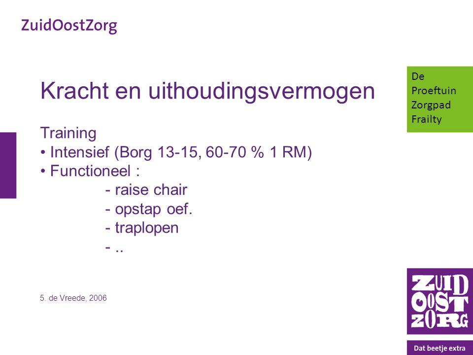 Kracht en uithoudingsvermogen Training Intensief (Borg 13-15, 60-70 % 1 RM) Functioneel : - raise chair - opstap oef. - traplopen -.. 5. de Vreede, 20
