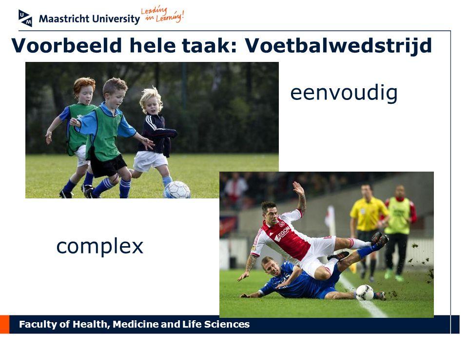 Faculty of Health, Medicine and Life Sciences Voorbeeld hele taak: Voetbalwedstrijd eenvoudig complex