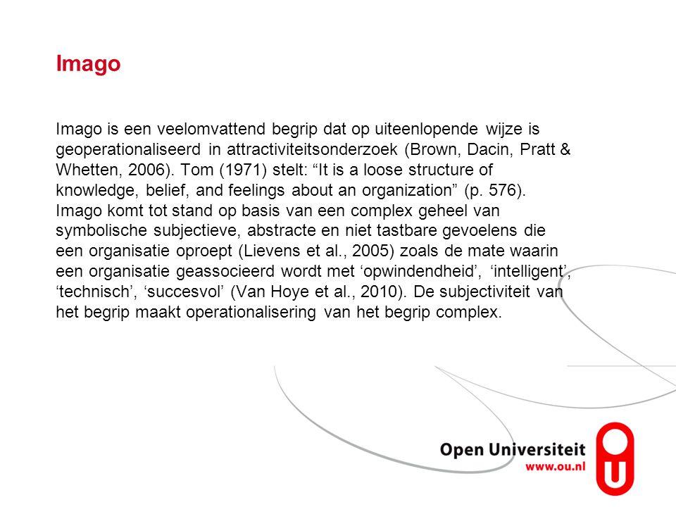 Imago Imago is een veelomvattend begrip dat op uiteenlopende wijze is geoperationaliseerd in attractiviteitsonderzoek (Brown, Dacin, Pratt & Whetten,