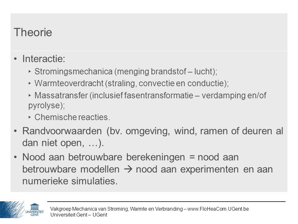 Vakgroep Mechanica van Stroming, Warmte en Verbranding – www.FloHeaCom.UGent.be Universiteit Gent – UGent Theorie Interactie: ‣ Stromingsmechanica (me