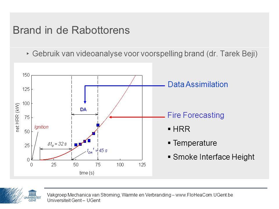 Vakgroep Mechanica van Stroming, Warmte en Verbranding – www.FloHeaCom.UGent.be Universiteit Gent – UGent Brand in de Rabottorens ‣ Gebruik van videoa