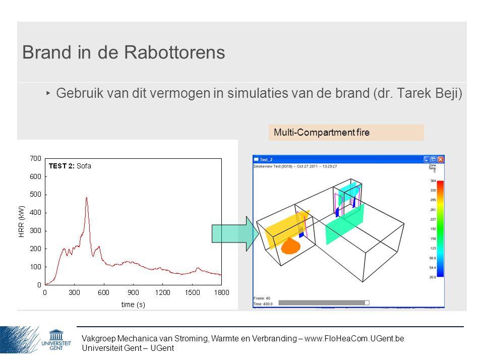 Vakgroep Mechanica van Stroming, Warmte en Verbranding – www.FloHeaCom.UGent.be Universiteit Gent – UGent Brand in de Rabottorens ‣ Gebruik van dit ve