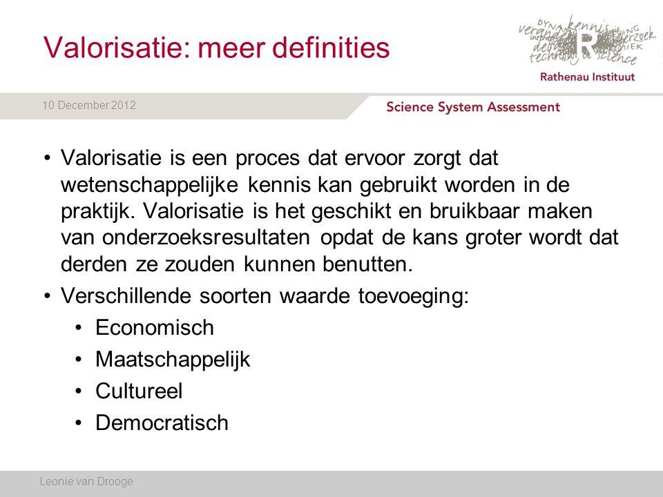 10 December 2012 Valorisatie: meer definities Leonie van Drooge Valorisatie is een proces dat ervoor zorgt dat wetenschappelijke kennis kan gebruikt w