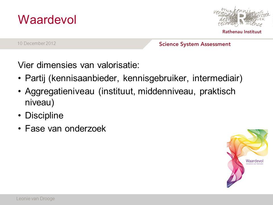 10 December 2012 Leonie van Drooge Vier dimensies van valorisatie: Partij (kennisaanbieder, kennisgebruiker, intermediair) Aggregatieniveau (instituut