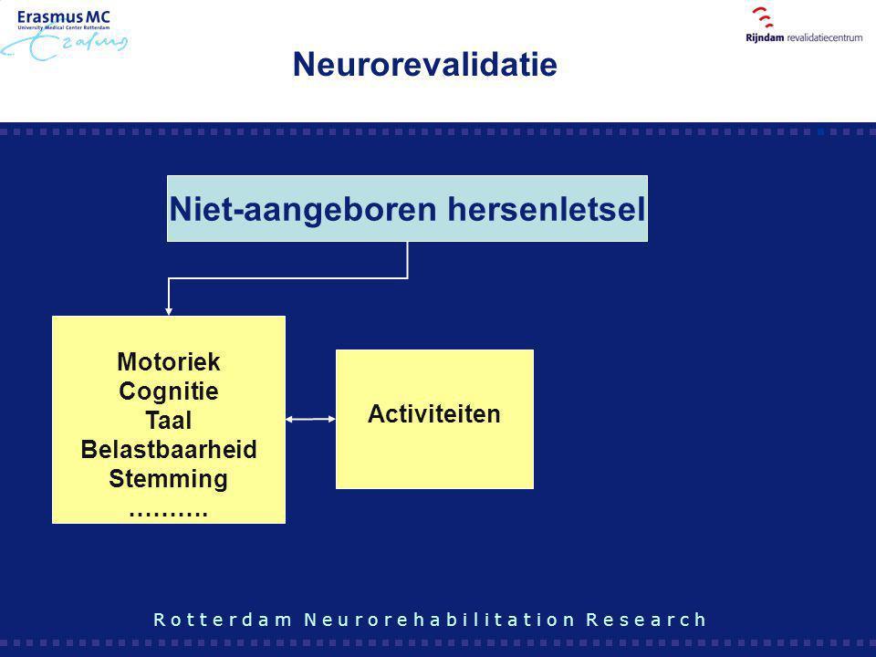 Motoriek Cognitie Taal Belastbaarheid Stemming ………. Niet-aangeboren hersenletsel Activiteiten Neurorevalidatie R o t t e r d a m N e u r o r e h a b i