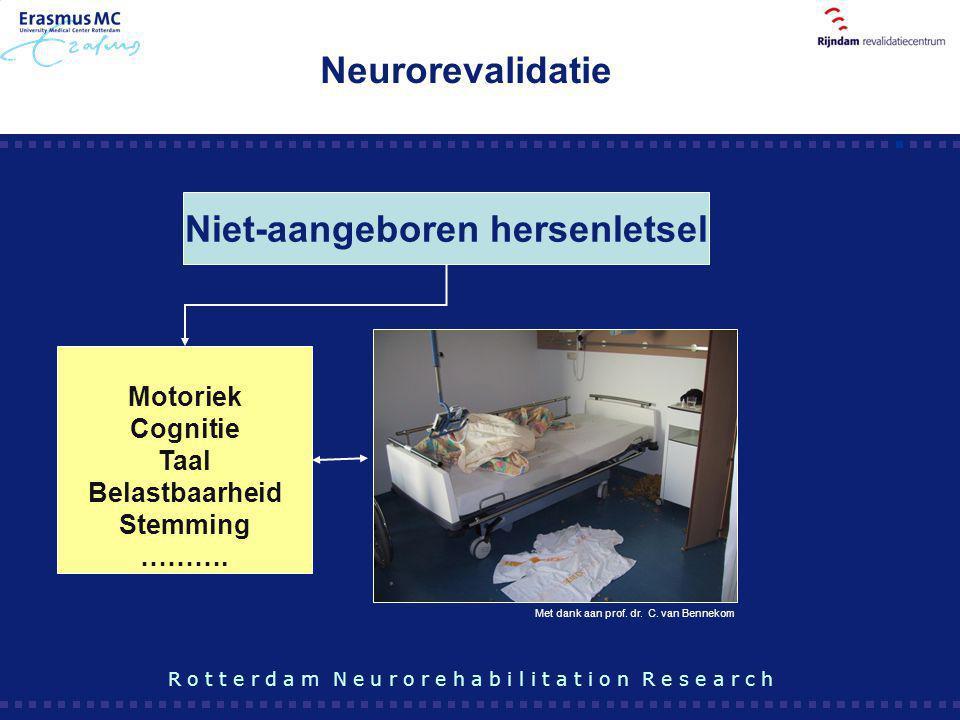 Motoriek Cognitie Taal Belastbaarheid Stemming ………. Niet-aangeboren hersenletsel R o t t e r d a m N e u r o r e h a b i l i t a t i o n R e s e a r c