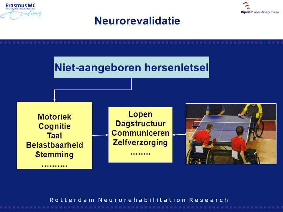 Motoriek Cognitie Taal Belastbaarheid Stemming ………. Niet-aangeboren hersenletsel Lopen Dagstructuur Communiceren Zelfverzorging …….. Participatie R o