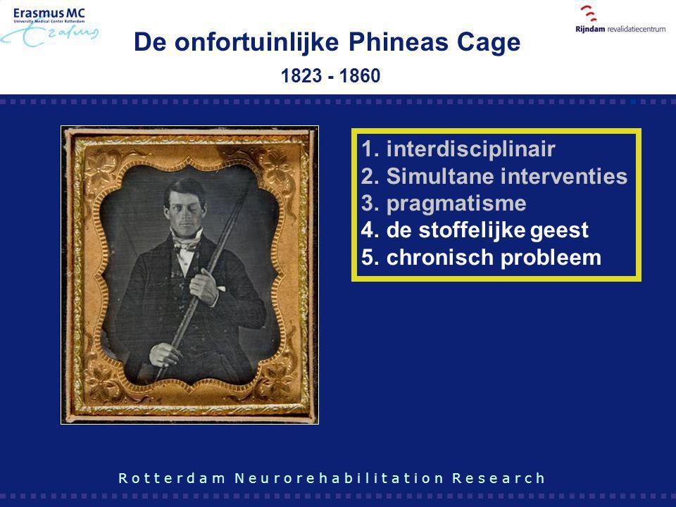De onfortuinlijke Phineas Cage 1823 - 1860 R o t t e r d a m N e u r o r e h a b i l i t a t i o n R e s e a r c h 1.interdisciplinair 2.Simultane int