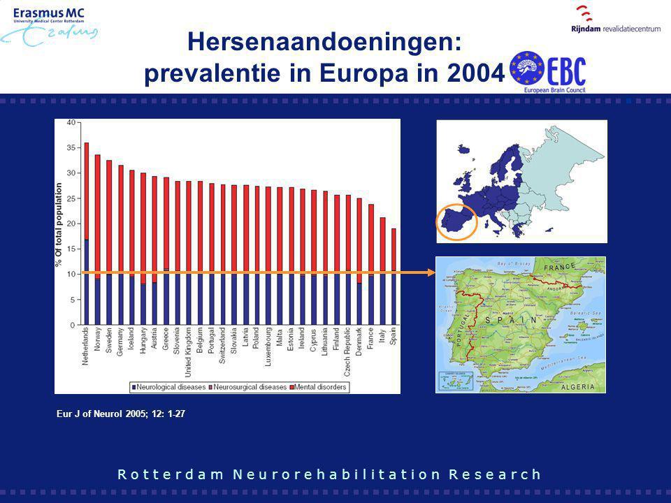 Hersenaandoeningen: prevalentie in Europa in 2004 R o t t e r d a m N e u r o r e h a b i l i t a t i o n R e s e a r c h Eur J of Neurol 2005; 12: 1-