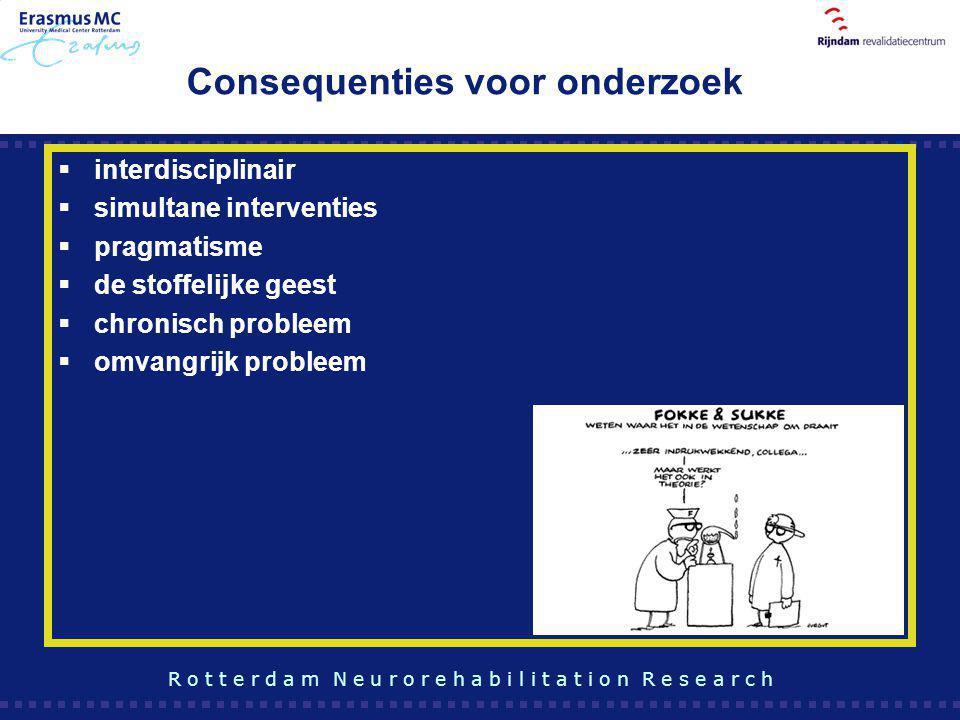 Consequenties voor onderzoek  interdisciplinair  simultane interventies  pragmatisme  de stoffelijke geest  chronisch probleem  omvangrijk probl